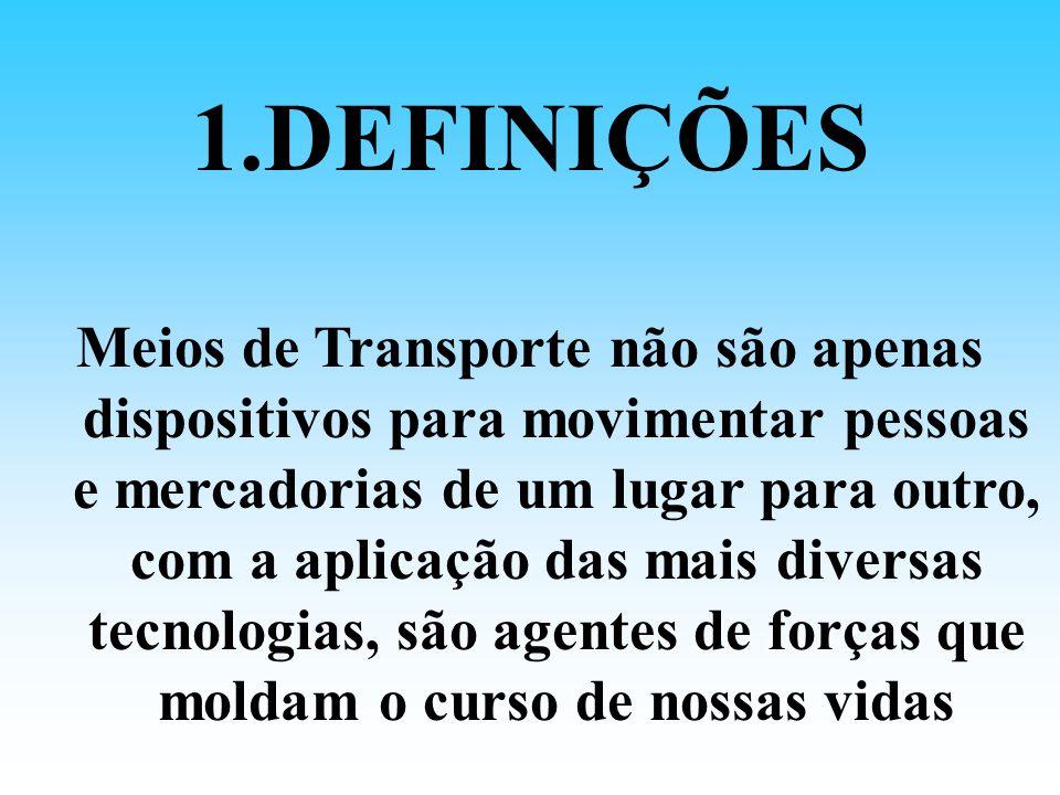 1.DEFINIÇÕES Transporte é uma atividade meio que viabiliza deslocamentos para satisfação de necessidades pessoais e coletivas