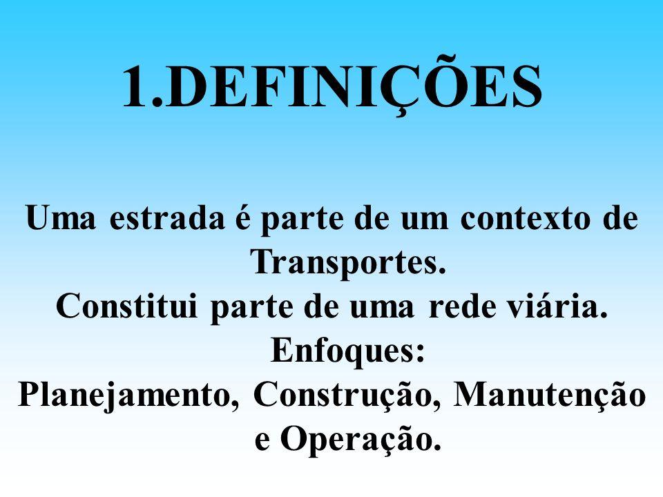 1.DEFINIÇÕES Uma estrada é parte de um contexto de Transportes. Constitui parte de uma rede viária. Enfoques: Planejamento, Construção, Manutenção e O