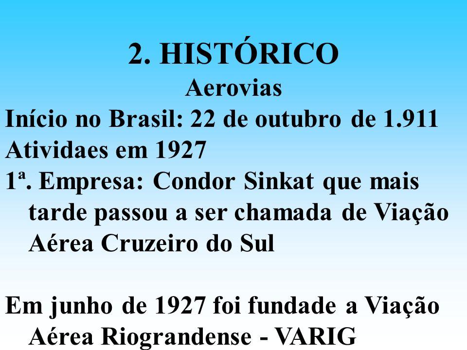 2. HISTÓRICO Aerovias Início no Brasil: 22 de outubro de 1.911 Atividaes em 1927 1ª. Empresa: Condor Sinkat que mais tarde passou a ser chamada de Via