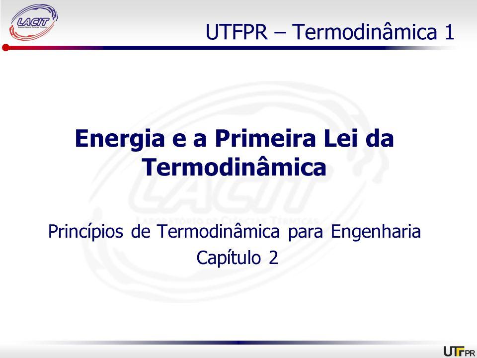 UTFPR – Termodinâmica 1 Energia e a Primeira Lei da Termodinâmica Princípios de Termodinâmica para Engenharia Capítulo 2