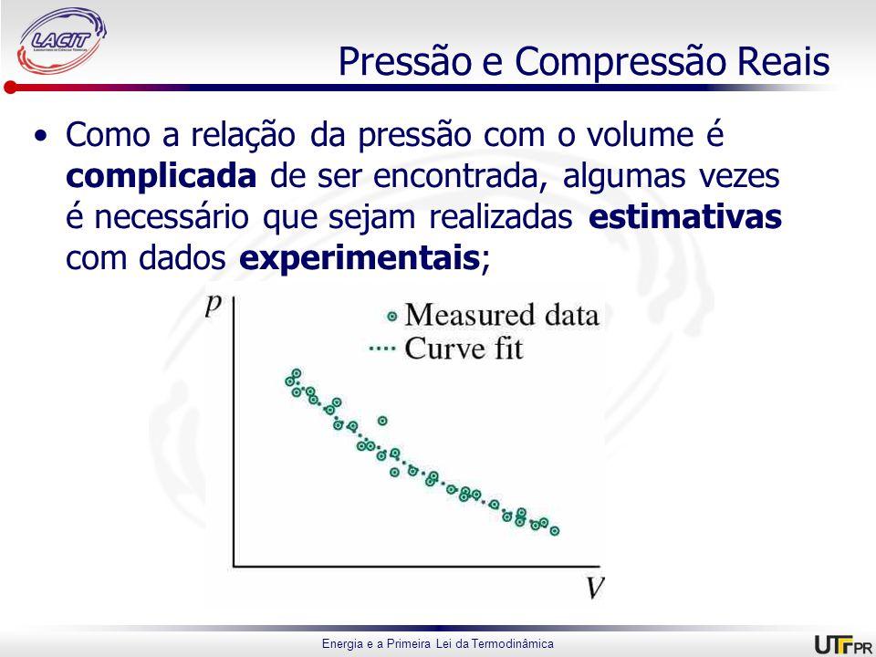 Energia e a Primeira Lei da Termodinâmica Pressão e Compressão Reais Como a relação da pressão com o volume é complicada de ser encontrada, algumas ve