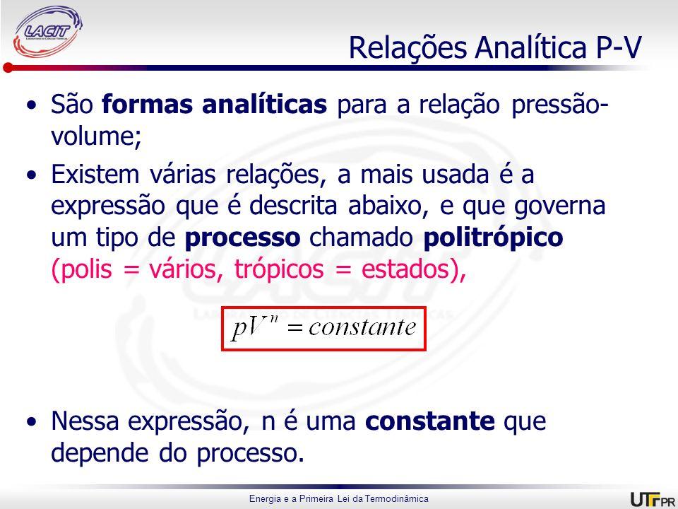 Energia e a Primeira Lei da Termodinâmica Relações Analítica P-V São formas analíticas para a relação pressão- volume; Existem várias relações, a mais