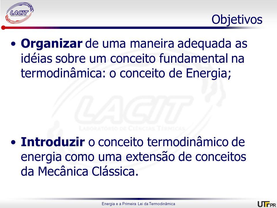 Energia e a Primeira Lei da Termodinâmica Objetivos Organizar de uma maneira adequada as idéias sobre um conceito fundamental na termodinâmica: o conc