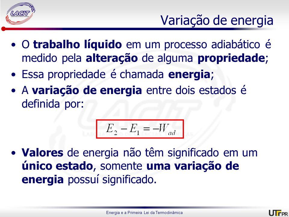 Energia e a Primeira Lei da Termodinâmica Variação de energia O trabalho líquido em um processo adiabático é medido pela alteração de alguma proprieda
