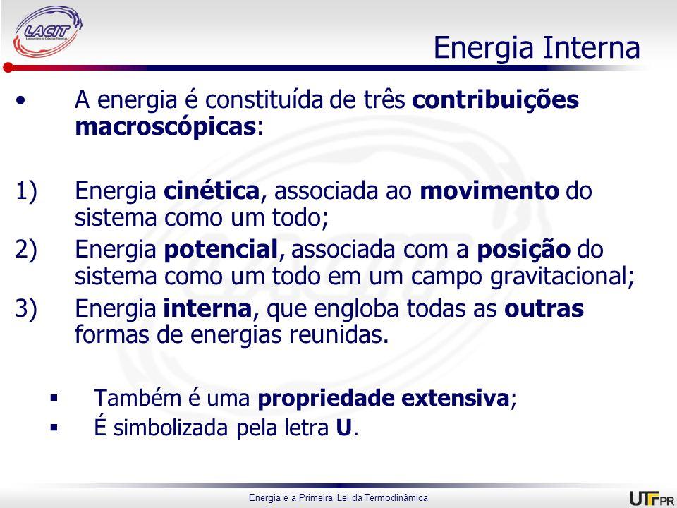 Energia e a Primeira Lei da Termodinâmica Energia Interna A energia é constituída de três contribuições macroscópicas: 1)Energia cinética, associada a