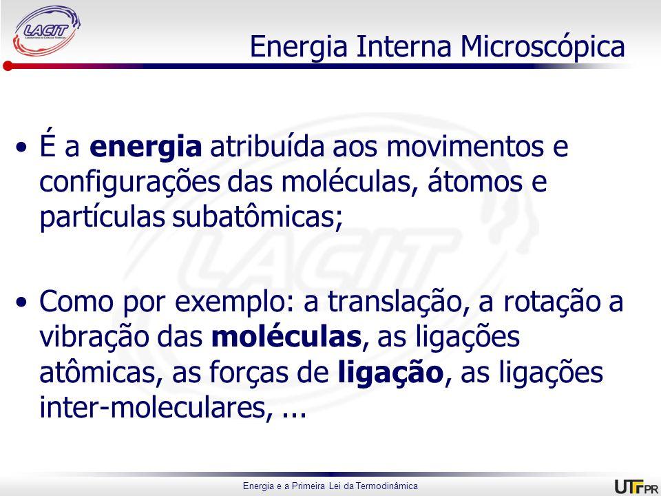Energia e a Primeira Lei da Termodinâmica Energia Interna Microscópica É a energia atribuída aos movimentos e configurações das moléculas, átomos e pa