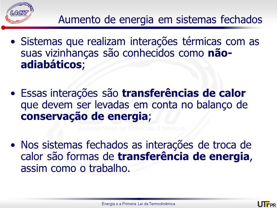 Energia e a Primeira Lei da Termodinâmica Aumento de energia em sistemas fechados Sistemas que realizam interações térmicas com as suas vizinhanças sã
