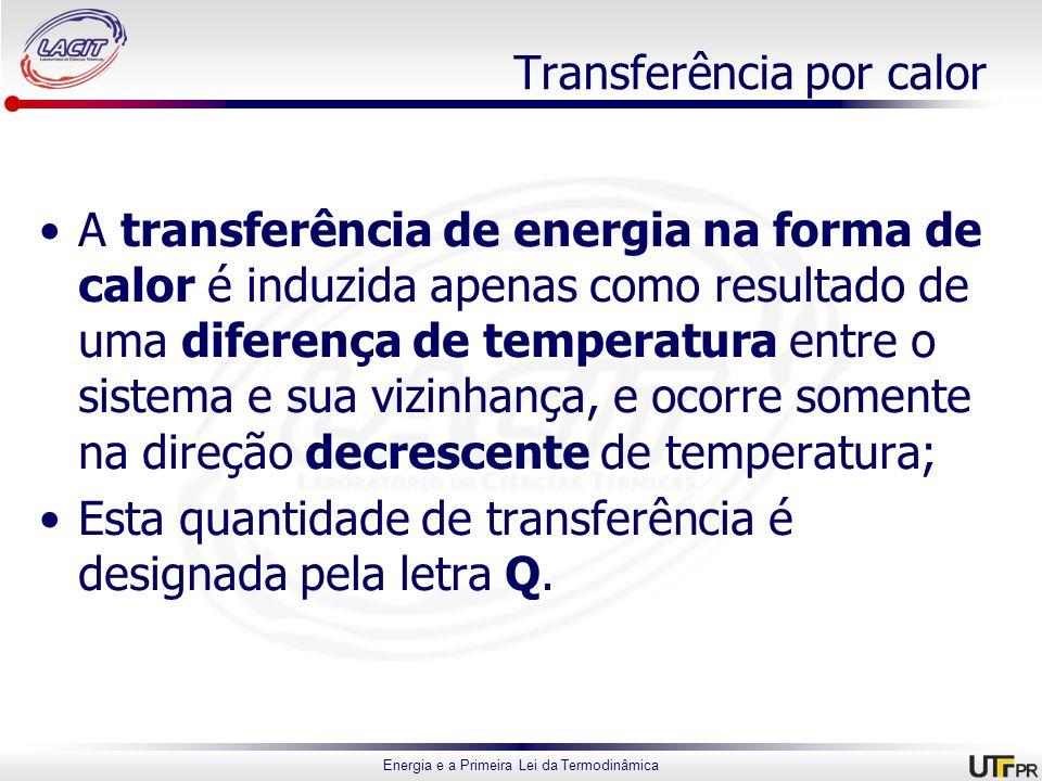 Energia e a Primeira Lei da Termodinâmica Transferência por calor A transferência de energia na forma de calor é induzida apenas como resultado de uma