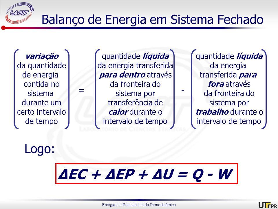 Energia e a Primeira Lei da Termodinâmica Balanço de Energia em Sistema Fechado variação da quantidade de energia contida no sistema durante um certo