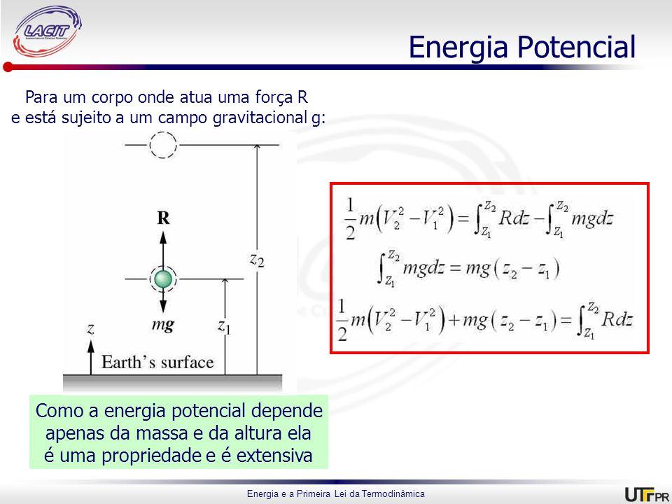 Energia e a Primeira Lei da Termodinâmica Energia Potencial Para um corpo onde atua uma força R e está sujeito a um campo gravitacional g: Como a ener