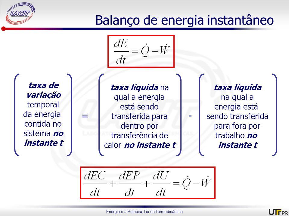 Energia e a Primeira Lei da Termodinâmica Balanço de energia instantâneo taxa de variação temporal da energia contida no sistema no instante t taxa lí