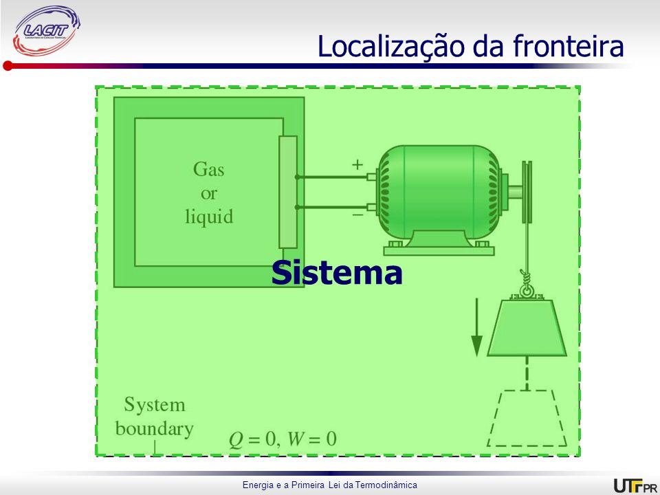 Energia e a Primeira Lei da Termodinâmica Localização da fronteira Sistema