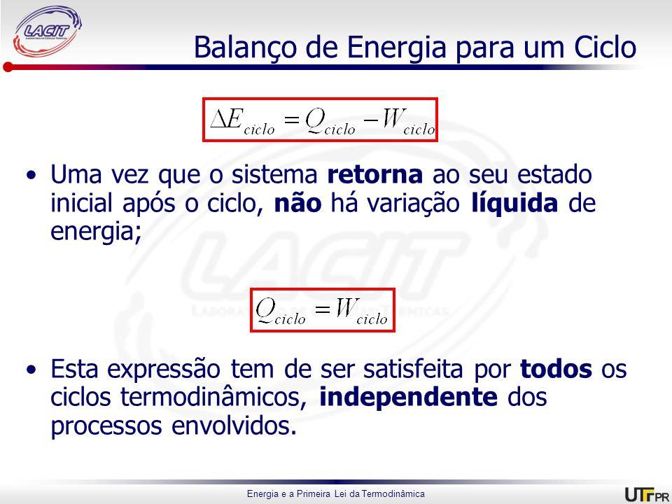 Energia e a Primeira Lei da Termodinâmica Balanço de Energia para um Ciclo Uma vez que o sistema retorna ao seu estado inicial após o ciclo, não há va