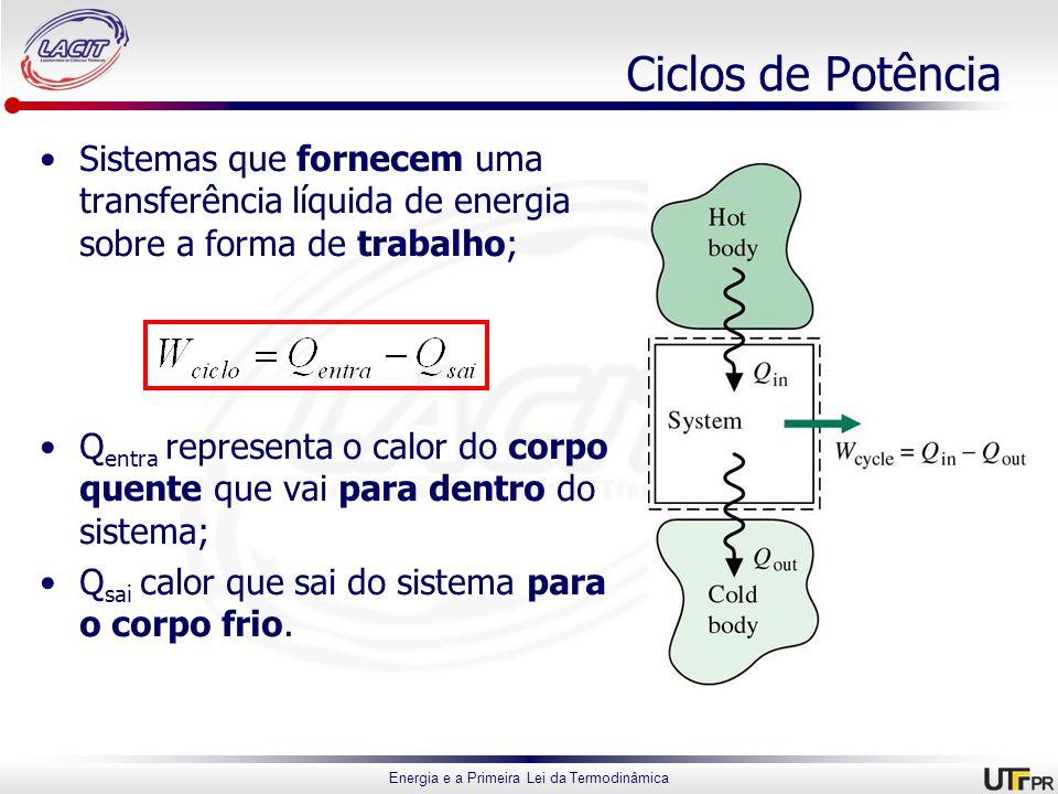 Energia e a Primeira Lei da Termodinâmica Ciclos de Potência Sistemas que fornecem uma transferência líquida de energia sobre a forma de trabalho; Q e
