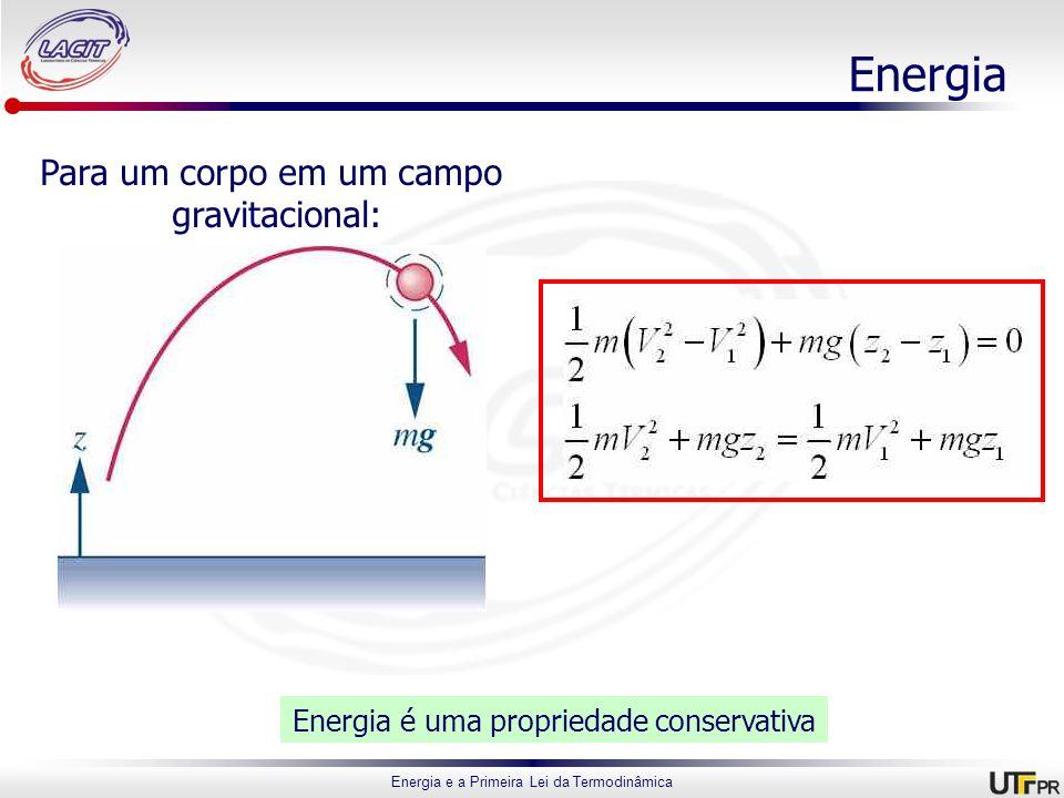 Energia e a Primeira Lei da Termodinâmica Energia Para um corpo em um campo gravitacional: Energia é uma propriedade conservativa