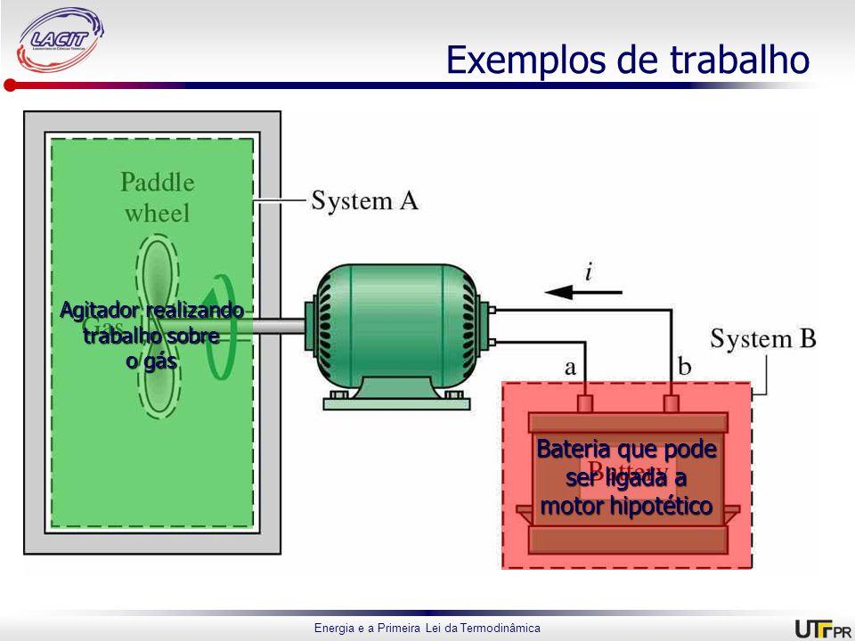 Energia e a Primeira Lei da Termodinâmica Exemplos de trabalho Agitador realizando trabalho sobre o gás Bateria que pode ser ligada a motor hipotético