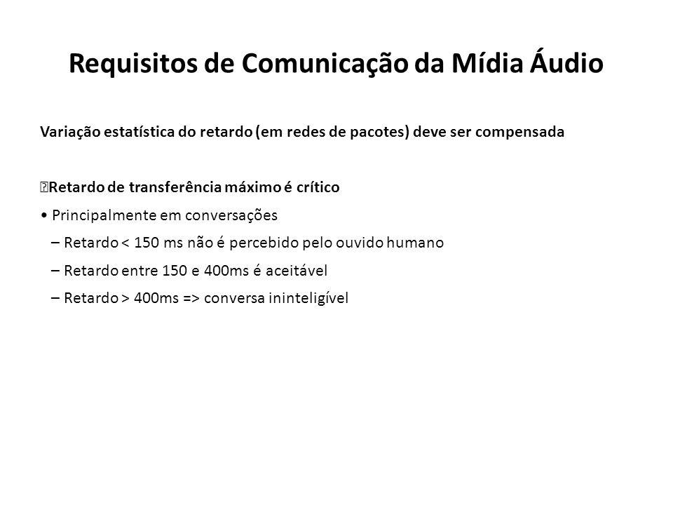 Requisitos de Comunicação da Mídia Áudio Variação estatística do retardo (em redes de pacotes) deve ser compensada Retardo de transferência máximo é c