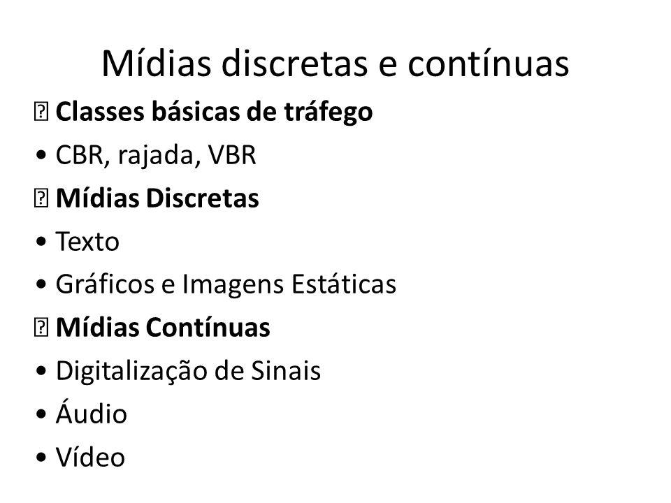 Mídias discretas e contínuas Classes básicas de tráfego CBR, rajada, VBR Mídias Discretas Texto Gráficos e Imagens Estáticas Mídias Contínuas Digitali