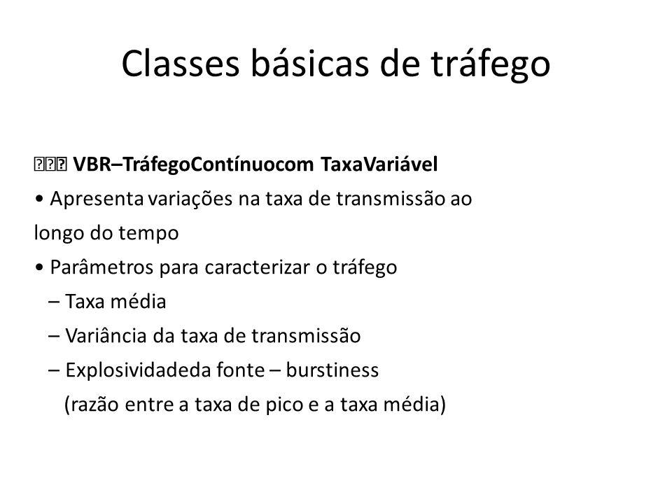 Classes básicas de tráfego VBR–TráfegoContínuocom TaxaVariável Apresenta variações na taxa de transmissão ao longo do tempo Parâmetros para caracteriz