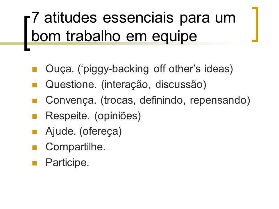 7 atitudes essenciais para um bom trabalho em equipe Ouça. (piggy-backing off others ideas) Questione. (interação, discussão) Convença. (trocas, defin