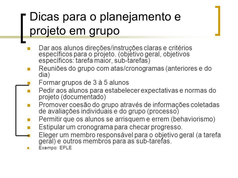 Dicas para o planejamento e projeto em grupo Dar aos alunos direções/instruções claras e critérios específicos para o projeto. (objetivo geral, objeti