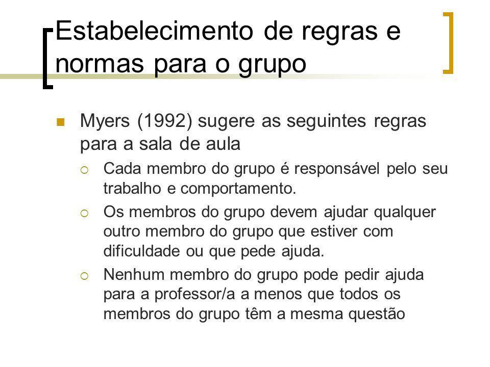 Estabelecimento de regras e normas para o grupo Myers (1992) sugere as seguintes regras para a sala de aula Cada membro do grupo é responsável pelo seu trabalho e comportamento.