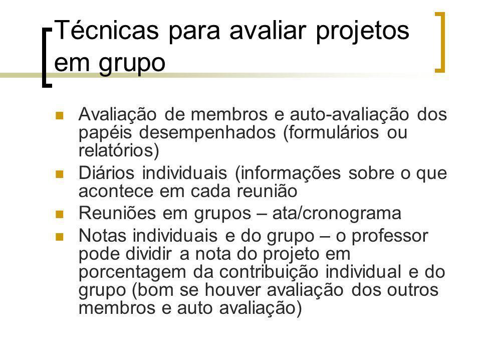 Técnicas para avaliar projetos em grupo Avaliação de membros e auto-avaliação dos papéis desempenhados (formulários ou relatórios) Diários individuais