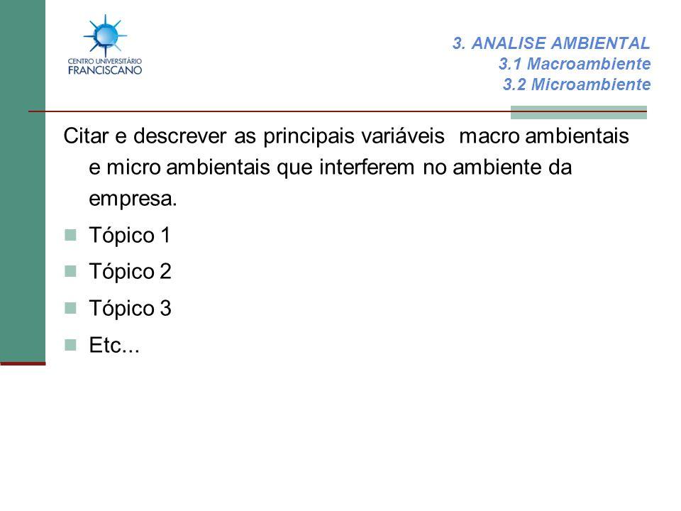 3. ANALISE AMBIENTAL 3.1 Macroambiente 3.2 Microambiente Citar e descrever as principais variáveis macro ambientais e micro ambientais que interferem