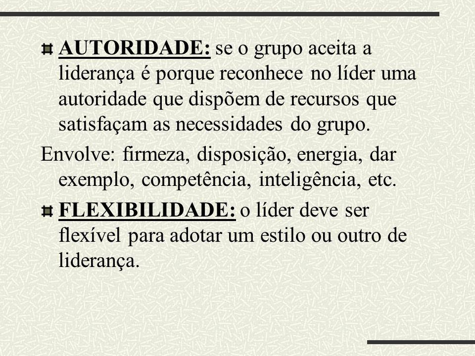 AUTORIDADE: se o grupo aceita a liderança é porque reconhece no líder uma autoridade que dispõem de recursos que satisfaçam as necessidades do grupo.