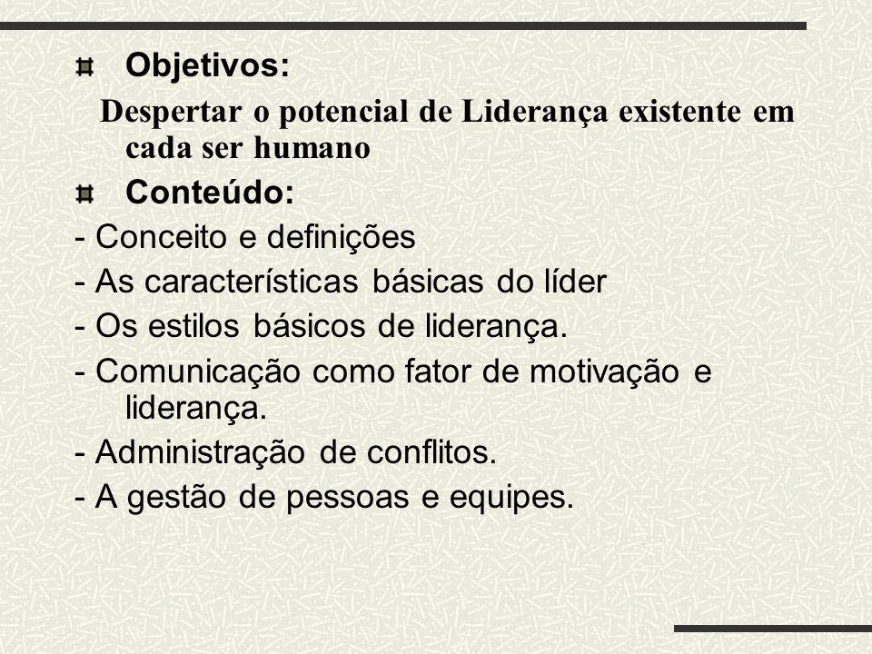 Objetivos: Despertar o potencial de Liderança existente em cada ser humano Conteúdo: - Conceito e definições - As características básicas do líder - O
