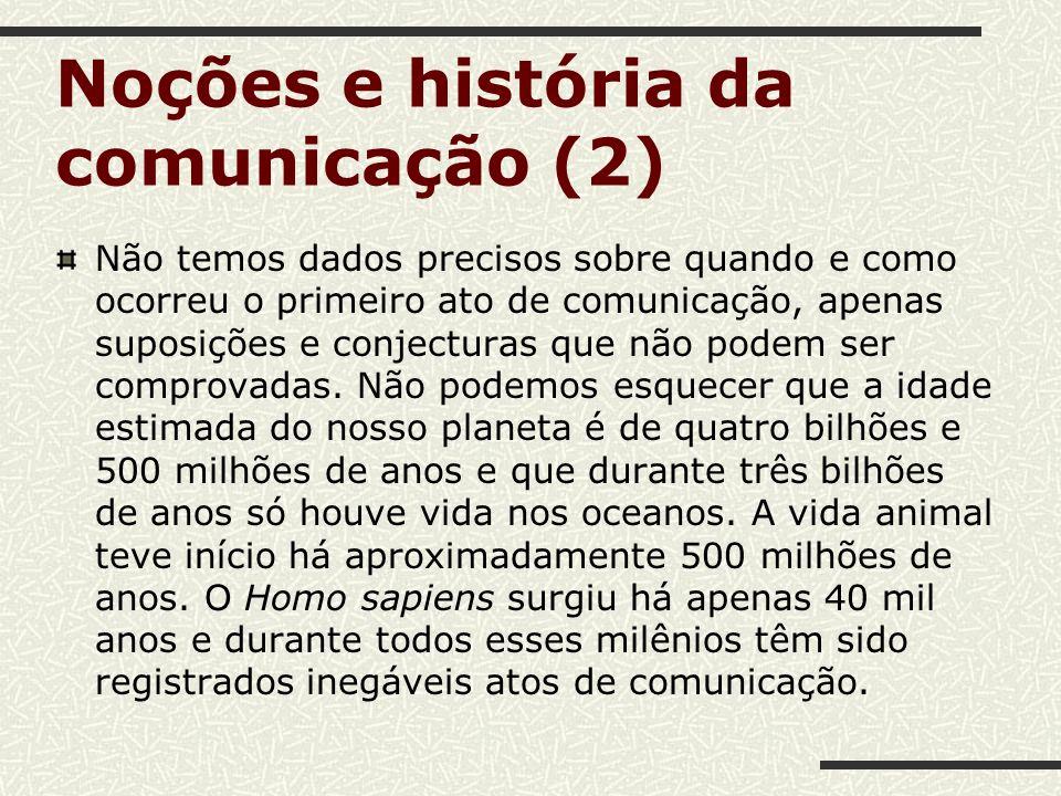 Noções e história da comunicação (2) Não temos dados precisos sobre quando e como ocorreu o primeiro ato de comunicação, apenas suposições e conjectur