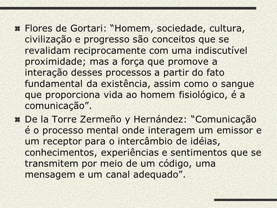 Flores de Gortari: Homem, sociedade, cultura, civilização e progresso são conceitos que se revalidam reciprocamente com uma indiscutível proximidade;