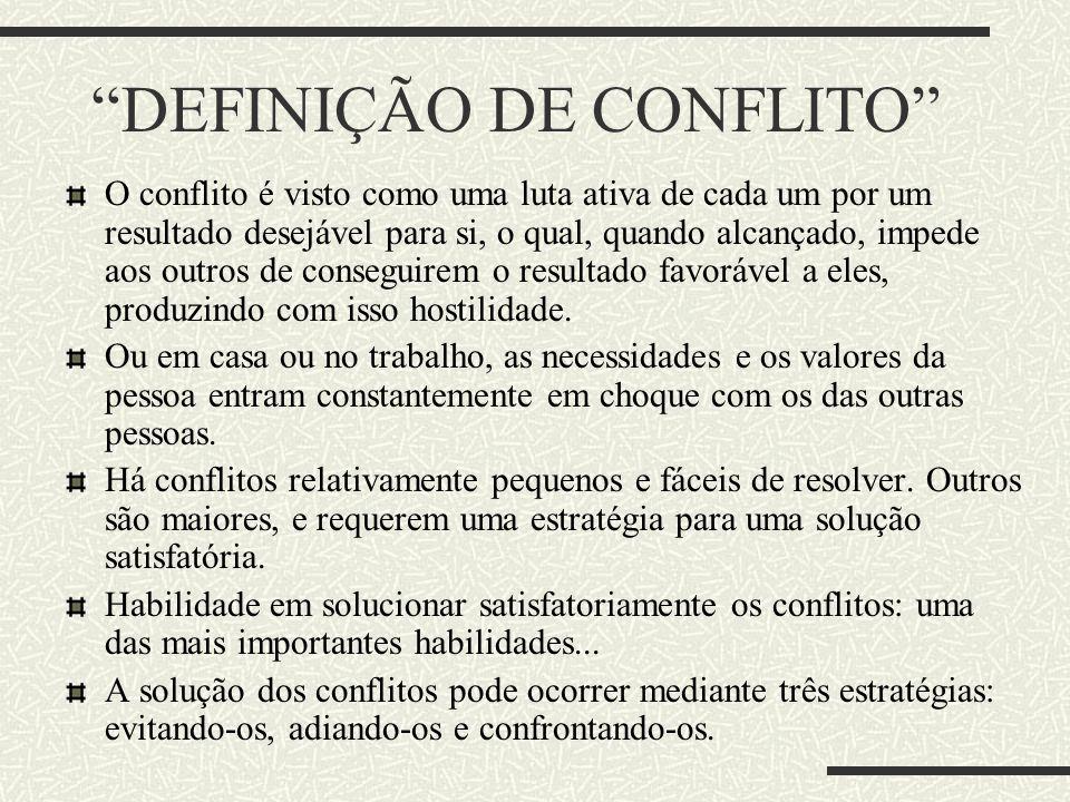 DEFINIÇÃO DE CONFLITO O conflito é visto como uma luta ativa de cada um por um resultado desejável para si, o qual, quando alcançado, impede aos outro