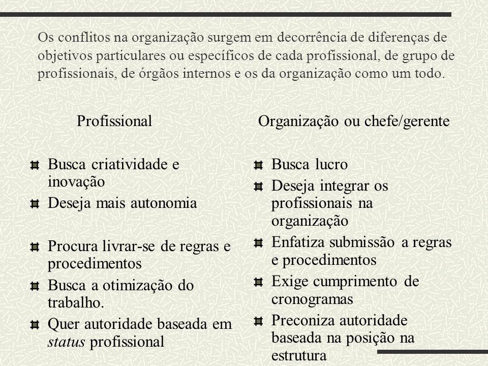Os conflitos na organização surgem em decorrência de diferenças de objetivos particulares ou específicos de cada profissional, de grupo de profissiona