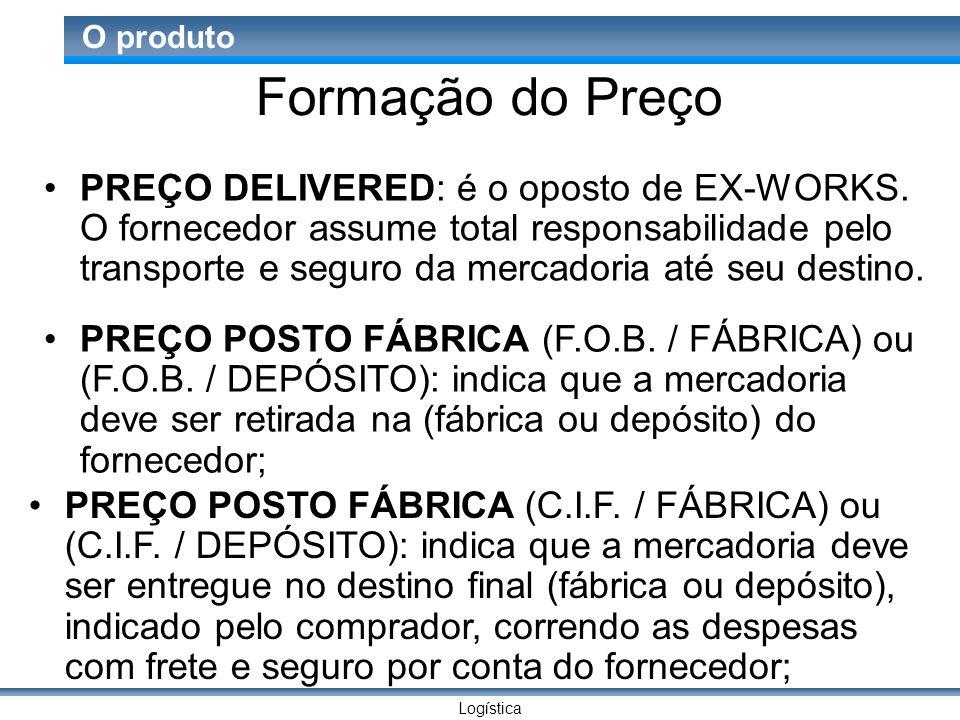 Logística O produto Formação do Preço PREÇO DELIVERED: é o oposto de EX-WORKS.
