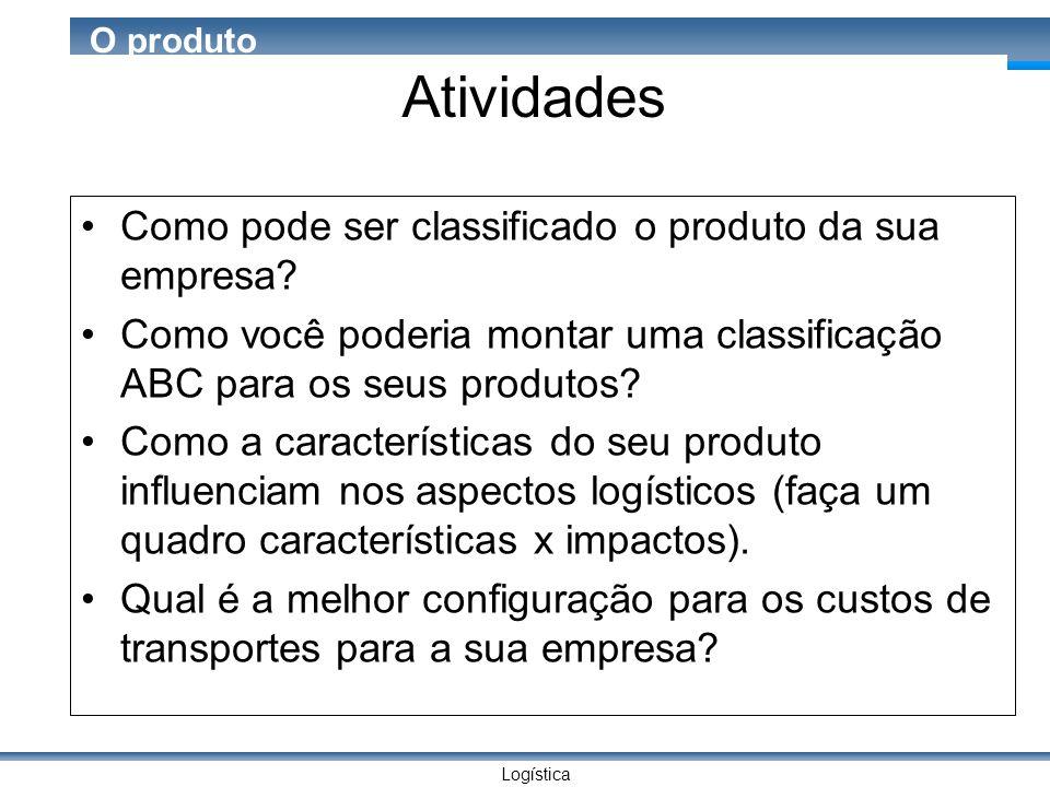 Logística O produto Atividades Como pode ser classificado o produto da sua empresa.