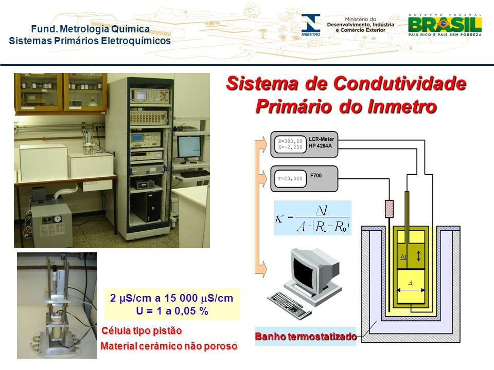 Fund. Metrologia Química Sistemas Primários Eletroquímicos l A 2 µS/cm a 15 000 S/cm U = 1 a 0,05 % Sistema de Condutividade Primário do Inmetro Célul