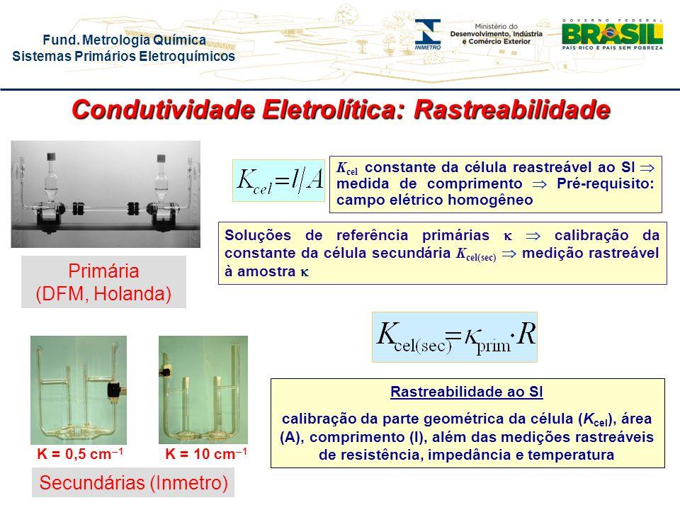 Fund. Metrologia Química Sistemas Primários Eletroquímicos K cel constante da célula reastreável ao SI medida de comprimento Pré-requisito: campo elét