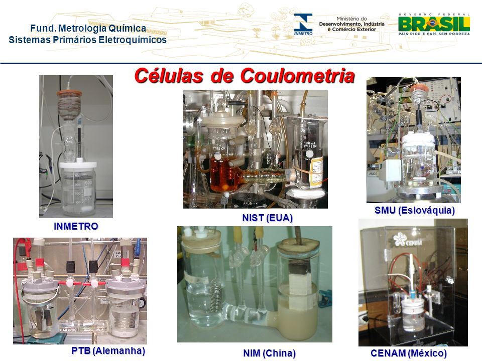 Fund. Metrologia Química Sistemas Primários Eletroquímicos Células de Coulometria NIST (EUA) PTB (Alemanha) SMU (Eslováquia) CENAM (México) NIM (China