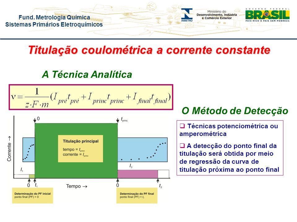 Fund. Metrologia Química Sistemas Primários Eletroquímicos O Método de Detecção A Técnica Analítica Técnicas potenciométrica ou amperométrica A detecç
