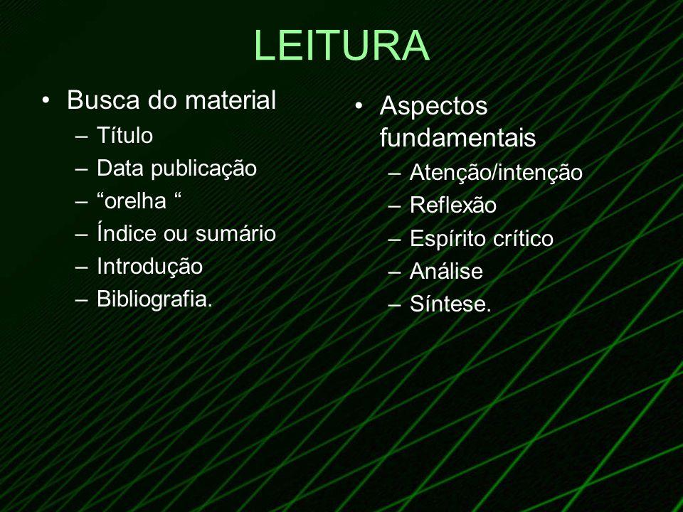 LEITURA Busca do material –Título –Data publicação –orelha –Índice ou sumário –Introdução –Bibliografia. Aspectos fundamentais –Atenção/intenção –Refl