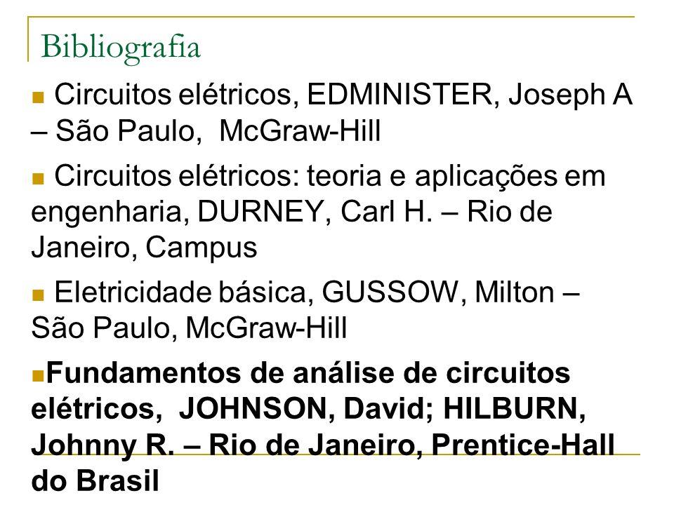 Bibliografia Circuitos elétricos, EDMINISTER, Joseph A – São Paulo, McGraw-Hill Circuitos elétricos: teoria e aplicações em engenharia, DURNEY, Carl H.