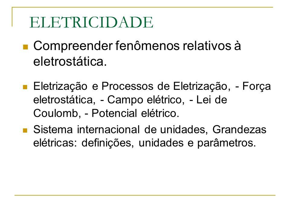 ELETRICIDADE Compreender fenômenos relativos à eletrostática. Eletrização e Processos de Eletrização, - Força eletrostática, - Campo elétrico, - Lei d