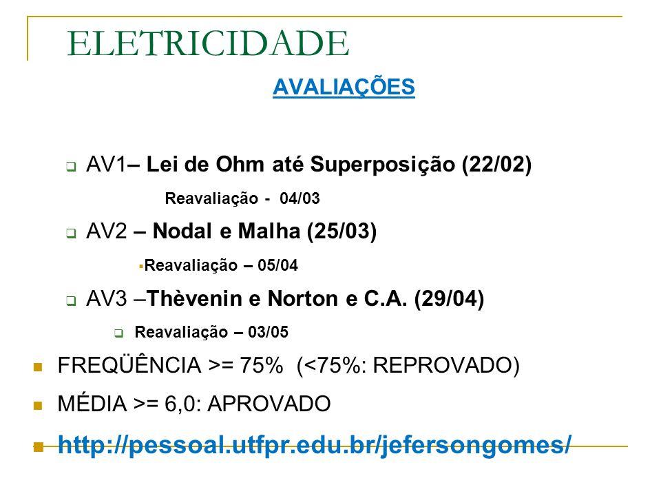 ELETRICIDADE AVALIAÇÕES AV1– Lei de Ohm até Superposição (22/02) Reavaliação - 04/03 AV2 – Nodal e Malha (25/03) Reavaliação – 05/04 AV3 –Thèvenin e Norton e C.A.