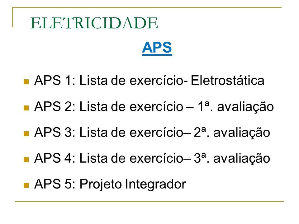 ELETRICIDADE APS APS 1: Lista de exercício- Eletrostática APS 2: Lista de exercício – 1ª. avaliação APS 3: Lista de exercício– 2ª. avaliação APS 4: Li