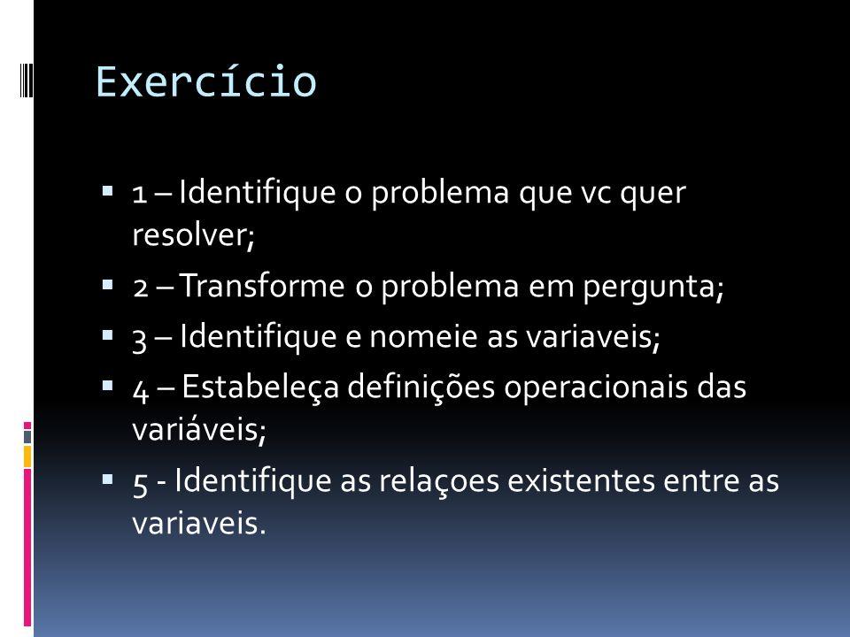 Exercício 1 – Identifique o problema que vc quer resolver; 2 – Transforme o problema em pergunta; 3 – Identifique e nomeie as variaveis; 4 – Estabeleça definições operacionais das variáveis; 5 - Identifique as relaçoes existentes entre as variaveis.