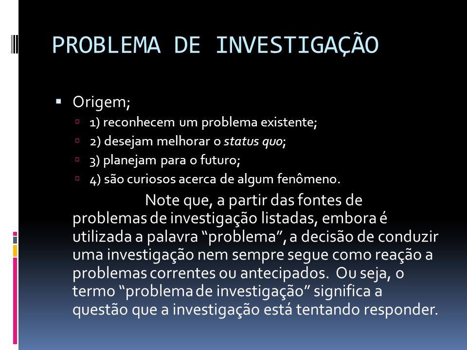 PROBLEMA DE INVESTIGAÇÃO Origem; 1) reconhecem um problema existente; 2) desejam melhorar o status quo; 3) planejam para o futuro; 4) são curiosos acerca de algum fenômeno.