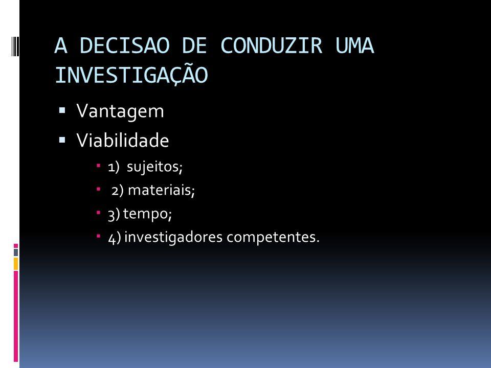 A DECISAO DE CONDUZIR UMA INVESTIGAÇÃO Vantagem Viabilidade 1) sujeitos; 2) materiais; 3) tempo; 4) investigadores competentes.