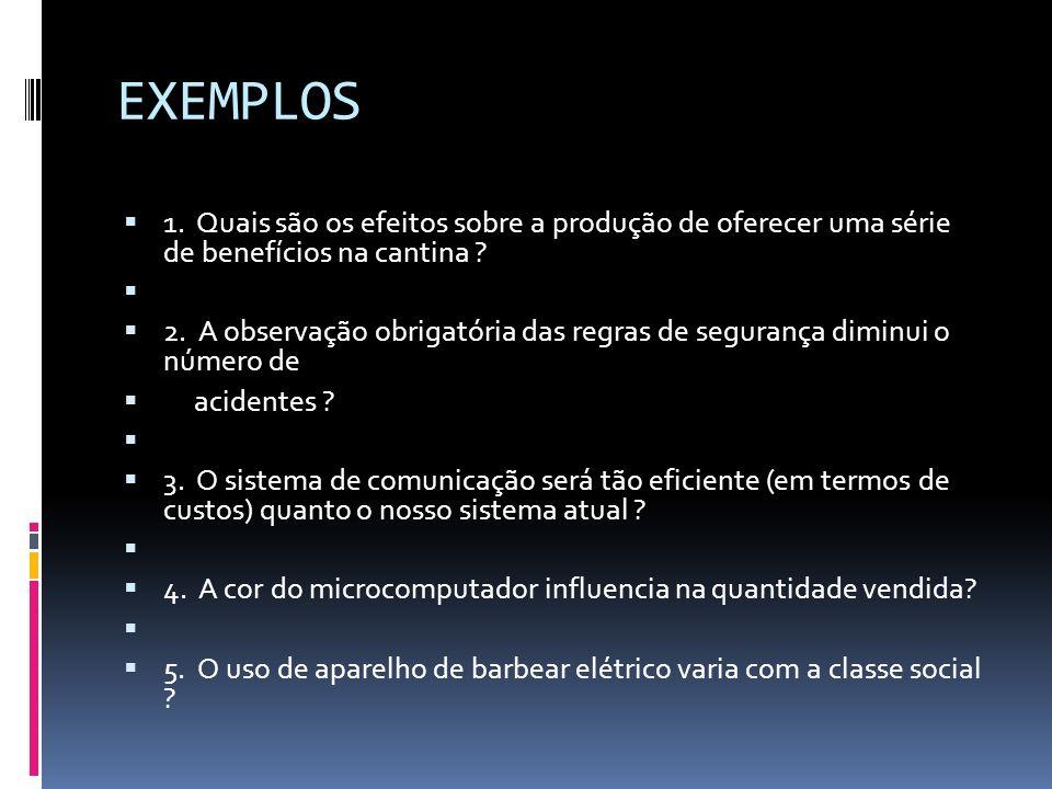 EXEMPLOS 1. Quais são os efeitos sobre a produção de oferecer uma série de benefícios na cantina ? 2. A observação obrigatória das regras de segurança