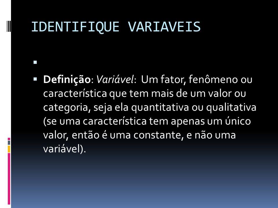 IDENTIFIQUE VARIAVEIS Definição: Variável: Um fator, fenômeno ou característica que tem mais de um valor ou categoria, seja ela quantitativa ou qualitativa (se uma característica tem apenas um único valor, então é uma constante, e não uma variável).